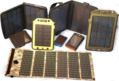 A group of personal solar panels in various power ratings